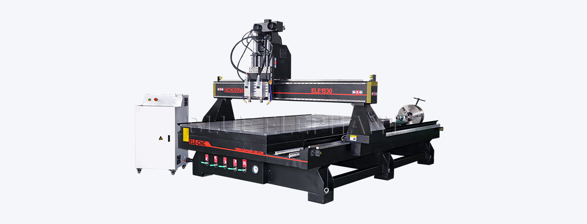 1530 pneumatic system double spindles 4 axis cnc router