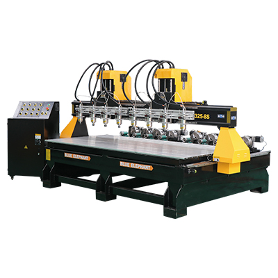 Features: 8 Spindles work in the same time, greatly saved time to change tool manually. Removable t-slot table, multi function engraving machine process 2d、3d、4d figures. Economic cost,8 spindles and 8 rotary devices router is very suitable for full form of woodworking. Parameters: Descriptions Parameters Product name ELE1325-8s Model 1325-8s+8r Working area 1300*2500*300mm Control system DSP B18 control system Spindle 2.2kw*8 water cooling spindle Spindle speed 0-24000RPM Inverter 2.2kw*8 fuling inverter Motor and driver 8 piece*FL 118 stepper motor and YAKO 2811 bigger and stronger driver Voltage 380V, 3ph, 50Hz Linear rail Sweden ABBA #20 linear guide for all axis Table structure New type thicker and bigger heavy duty welded frame and gantry Table surface Removable T-slot work table X,Y axis transmission Helical rack and pinion drive for X,Y axis Z axis transmission Taiwan TBI ball screw for z axis lubrication system Auto lubrication system Rotary device Rotary device with 200mm diameter PS:All the working area and specifications can be customized according to your requests.