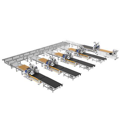 Línea de conexión de procesamiento de moldes para paneles de puertas